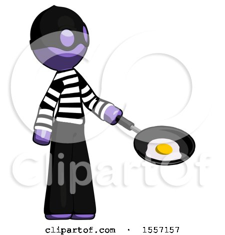 Purple Thief Man Frying Egg in Pan or Wok Facing Right by Leo Blanchette