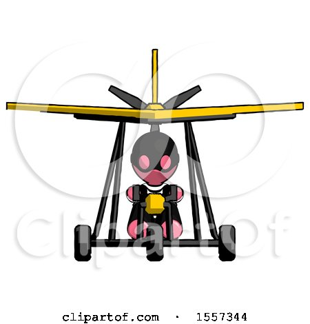 Pink Thief Man in Ultralight Aircraft Front View by Leo Blanchette