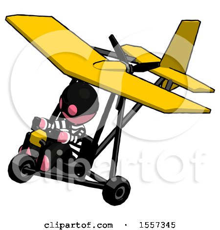 Pink Thief Man in Ultralight Aircraft Top Side View by Leo Blanchette