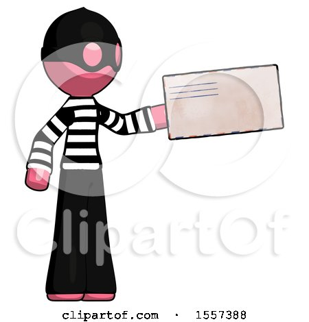 Pink Thief Man Holding Large Envelope by Leo Blanchette