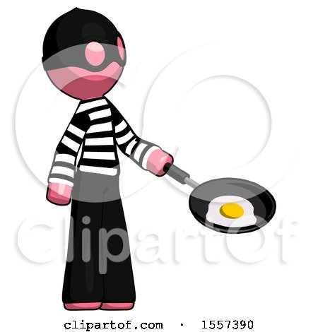 Pink Thief Man Frying Egg in Pan or Wok Facing Right by Leo Blanchette