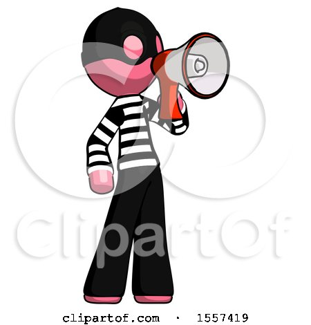 Pink Thief Man Shouting into Megaphone Bullhorn Facing Right by Leo Blanchette