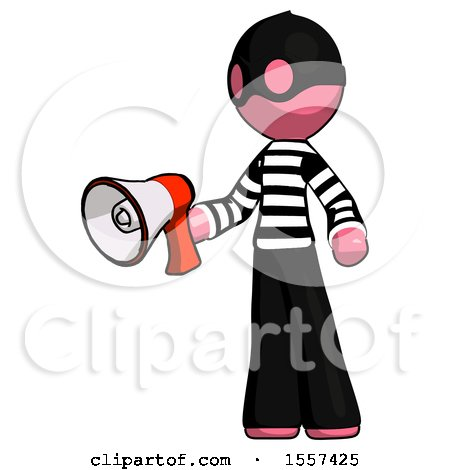 Pink Thief Man Holding Megaphone Bullhorn Facing Right by Leo Blanchette
