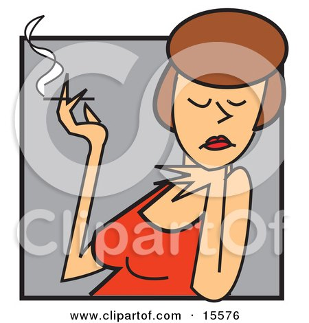 Attractive Female Caucasian Actress In A Red Dress, Resting Her Chin On One Hand And Holding A Cigarette In The Other Clipart Illustration by Andy Nortnik