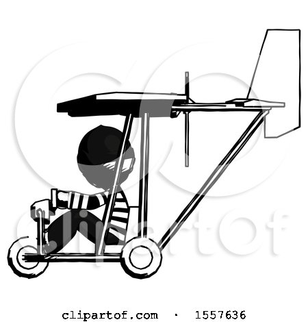 Ink Thief Man in Ultralight Aircraft Side View by Leo Blanchette