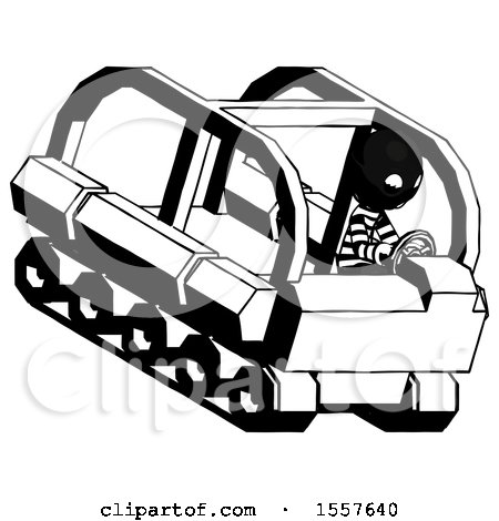 Ink Thief Man Driving Amphibious Tracked Vehicle Top Angle View by Leo Blanchette