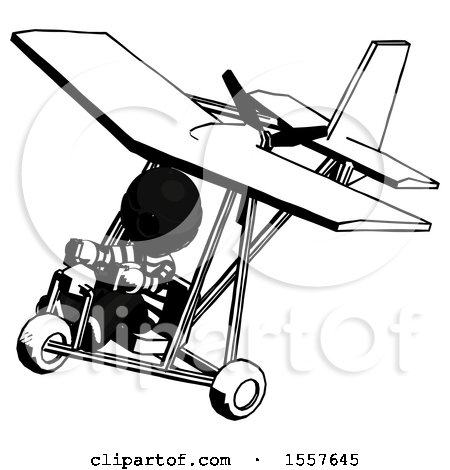 Ink Thief Man in Ultralight Aircraft Top Side View by Leo Blanchette