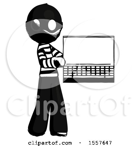 Ink Thief Man Holding Laptop Computer Presenting Something on Screen by Leo Blanchette