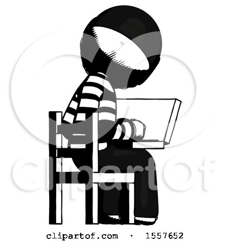 Ink Thief Man Using Laptop Computer While Sitting in Chair View from Back by Leo Blanchette