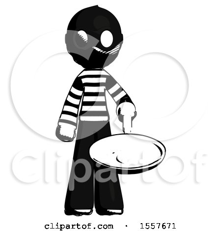 Ink Thief Man Frying Egg in Pan or Wok by Leo Blanchette