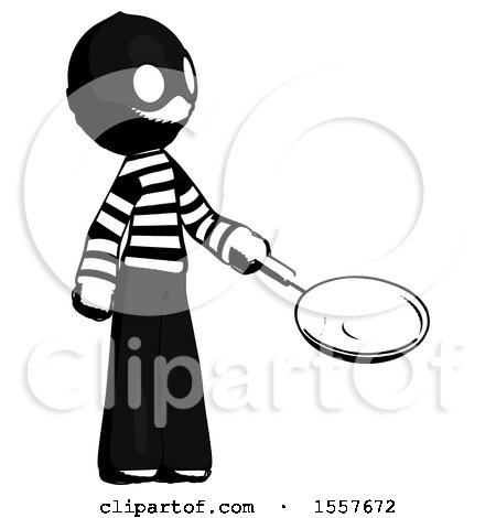 Ink Thief Man Frying Egg in Pan or Wok Facing Right by Leo Blanchette