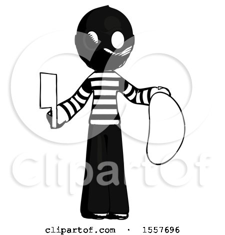 Ink Thief Man Holding Large Steak with Butcher Knife by Leo Blanchette