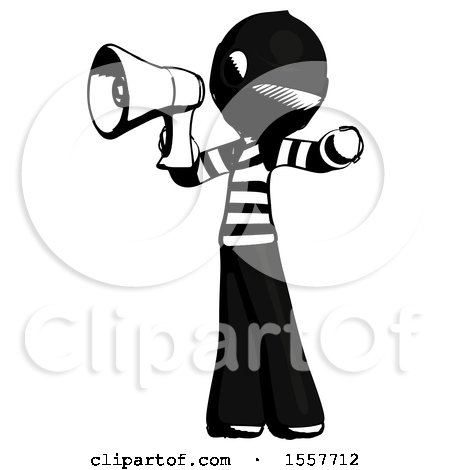 Ink Thief Man Shouting into Megaphone Bullhorn Facing Left by Leo Blanchette