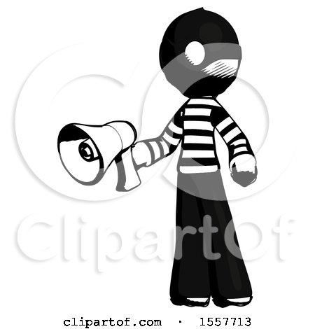 Ink Thief Man Holding Megaphone Bullhorn Facing Right by Leo Blanchette