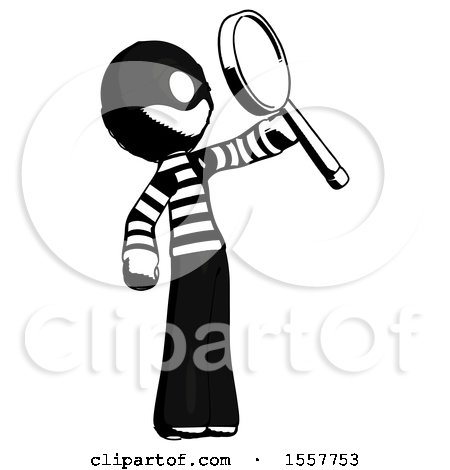Ink Thief Man Inspecting with Large Magnifying Glass Facing up by Leo Blanchette
