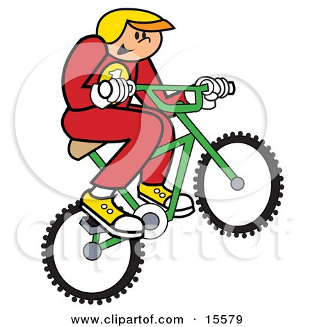 Boy In Uniform And A Helmet, Riding A Bmx Bike And Catching Air Clipart Illustration by Andy Nortnik