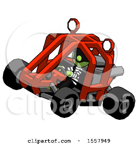 Green Thief Man Riding Sports Buggy Side Top Angle View by Leo Blanchette