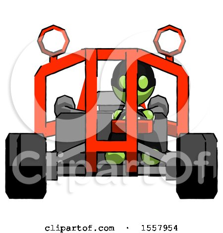 Green Thief Man Riding Sports Buggy Front View by Leo Blanchette