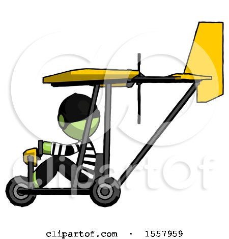 Green Thief Man in Ultralight Aircraft Side View by Leo Blanchette