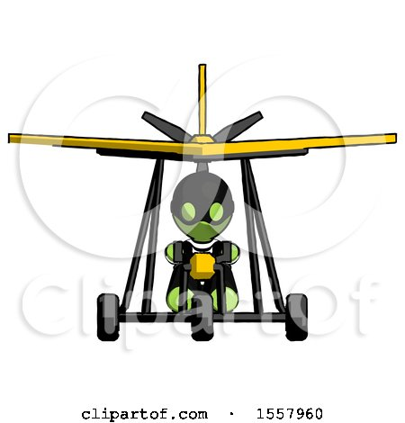 Green Thief Man in Ultralight Aircraft Front View by Leo Blanchette