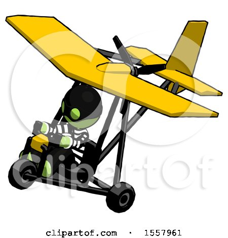 Green Thief Man in Ultralight Aircraft Top Side View by Leo Blanchette