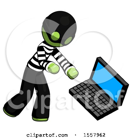 Green Thief Man Throwing Laptop Computer in Frustration by Leo Blanchette