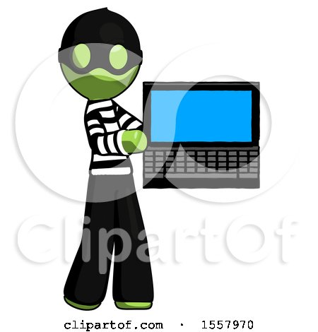 Green Thief Man Holding Laptop Computer Presenting Something on Screen by Leo Blanchette