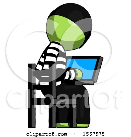 Green Thief Man Using Laptop Computer While Sitting in Chair View from Back by Leo Blanchette