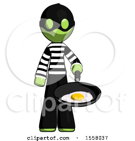 Green Thief Man Frying Egg in Pan or Wok by Leo Blanchette