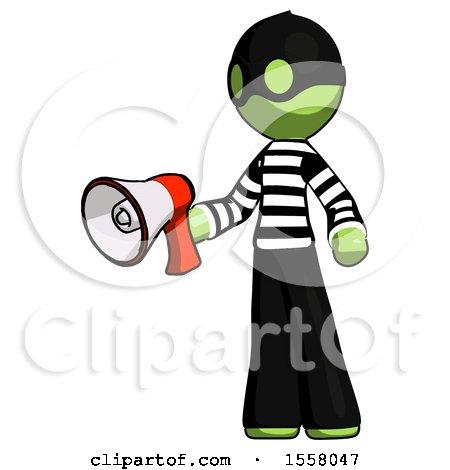 Green Thief Man Holding Megaphone Bullhorn Facing Right by Leo Blanchette