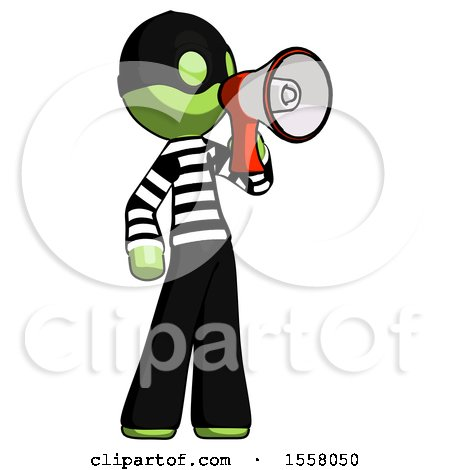 Green Thief Man Shouting into Megaphone Bullhorn Facing Right by Leo Blanchette