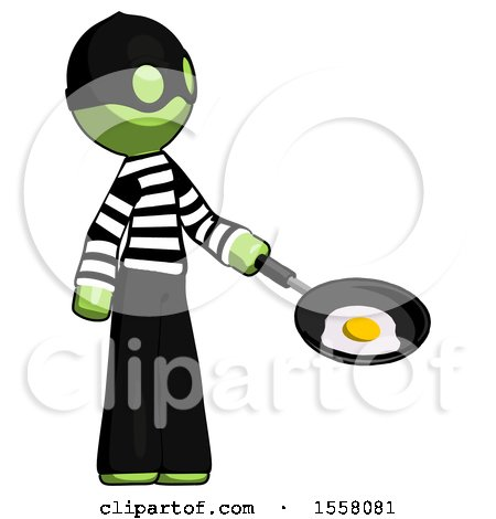 Green Thief Man Frying Egg in Pan or Wok Facing Right by Leo Blanchette