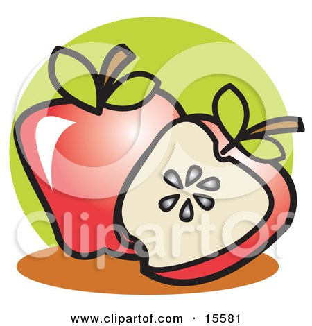 Halved Red Apple Resting In Front Of A Whole Apple Clipart Illustration by Andy Nortnik