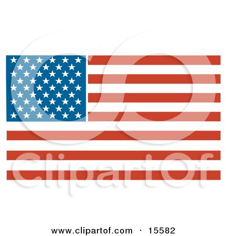 Patriotic American Flag With Stars And Stripes Clipart Illustration Posters, Art Prints