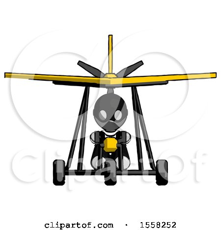 Gray Thief Man in Ultralight Aircraft Front View by Leo Blanchette