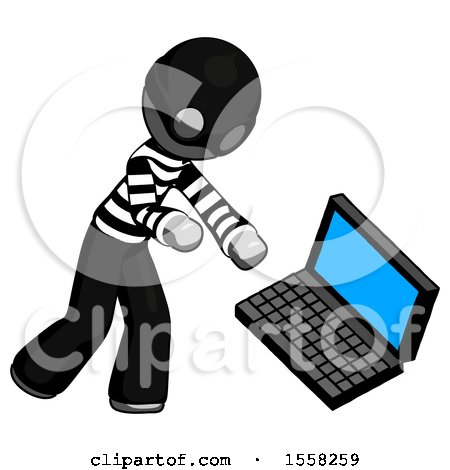 Gray Thief Man Throwing Laptop Computer in Frustration by Leo Blanchette