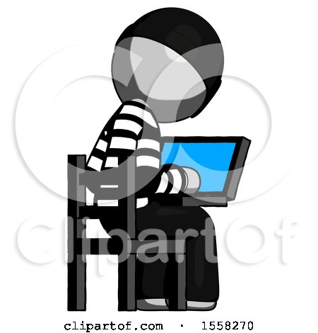 Gray Thief Man Using Laptop Computer While Sitting in Chair View from Back by Leo Blanchette