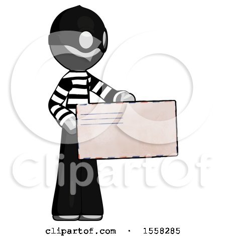 Gray Thief Man Presenting Large Envelope by Leo Blanchette