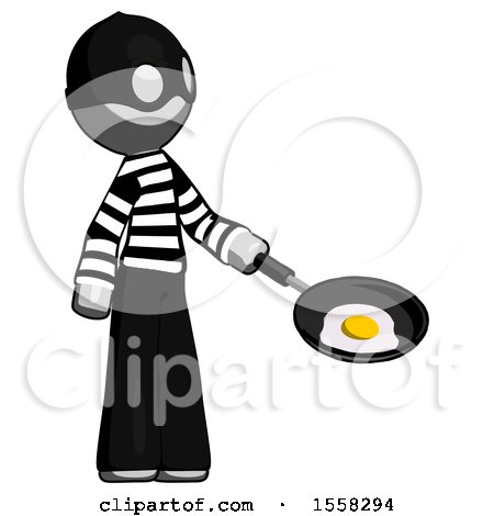 Gray Thief Man Frying Egg in Pan or Wok Facing Right by Leo Blanchette