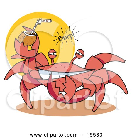 Funny Crab Belching While Drinking An Alcoholic Beverage In A Coconut Shell On A Beach Clipart Illustration by Andy Nortnik