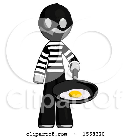 Gray Thief Man Frying Egg in Pan or Wok by Leo Blanchette