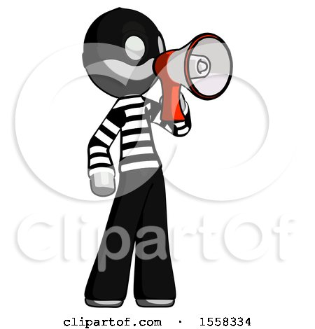 Gray Thief Man Shouting into Megaphone Bullhorn Facing Right by Leo Blanchette