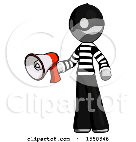 Gray Thief Man Holding Megaphone Bullhorn Facing Right by Leo Blanchette