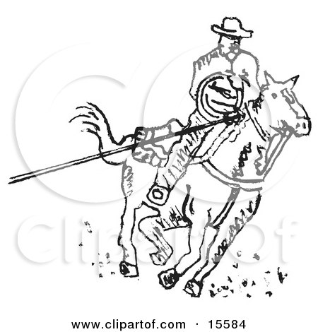 Cowboy On Horseback Roping Something With A Lasso Clipart Illustration