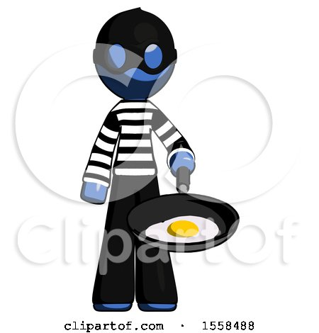 Blue Thief Man Frying Egg in Pan or Wok by Leo Blanchette