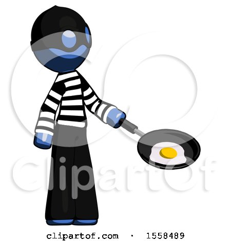 Blue Thief Man Frying Egg in Pan or Wok Facing Right by Leo Blanchette