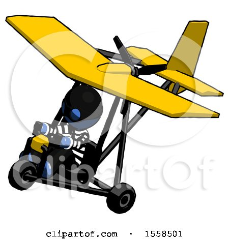 Blue Thief Man in Ultralight Aircraft Top Side View by Leo Blanchette