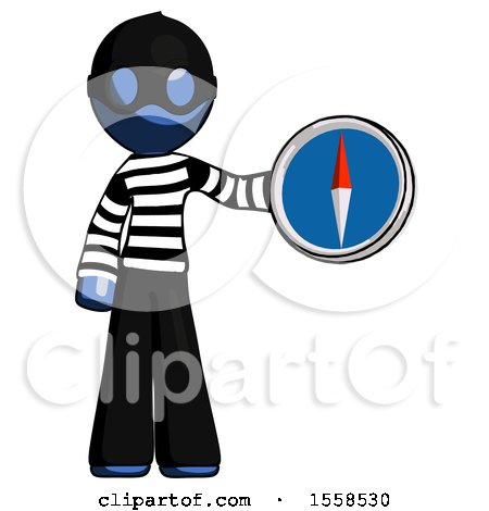 Blue Thief Man Holding a Large Compass by Leo Blanchette