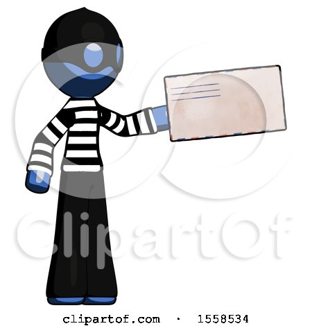 Blue Thief Man Holding Large Envelope by Leo Blanchette