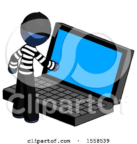Blue Thief Man Using Large Laptop Computer by Leo Blanchette